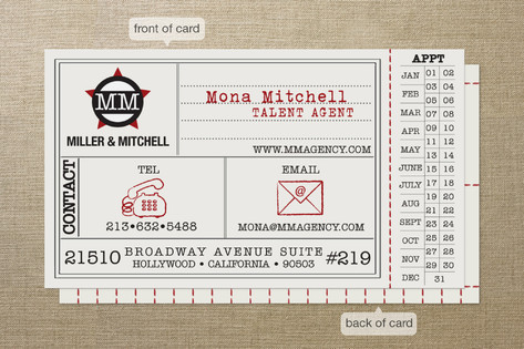 Vintage Hollywood Ticket Business Cards by Erin Ne
