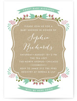 Kraft Floral Frame Baby Shower Invitations