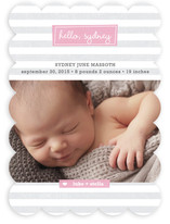 Striped Hello Birth Announcements