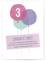 Three Balloons Children's Birthday Party Invitations