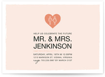 Coupled Heart Engagement Party Invitations
