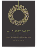 Gold Wreath Holiday Party Invitations
