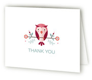 Blushing Owl Baby Shower Thank You Cards