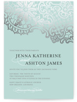 White Lace Foil-Pressed Wedding Invitations
