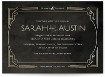 Foxtrot Frame Foil-Pressed Wedding Invitations