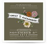 Wildflower Label Wedding Invitations