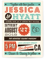 MidCentury Poster Board Wedding Invitations