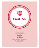 Chinese Pink Double Happiness Heart Reception Cards