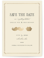 Stache + Kiss Foil-Pressed Save the Date Cards
