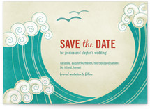 BLOCK PRINT WAVES Save the Date Postcards