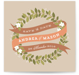 Ribbon Wreath Save the Date Cards