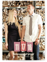 Retro Numbers Save the Date Cards